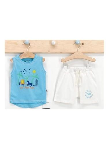 U.S. Polo Assn. Lisanslı Palm Aqua Erkek Bebek Atlet Takım Mavi
